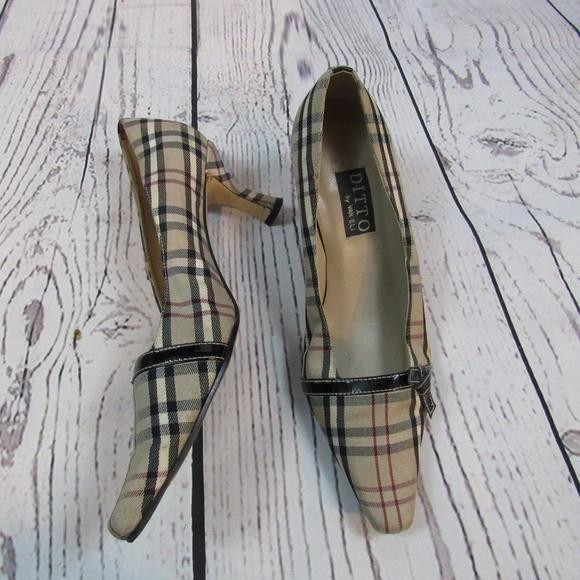 1ac764c20503e Ditto by Van Eli plaid kitten heel pumps